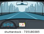 car on the road  a view from... | Shutterstock . vector #735180385