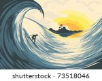 tropical island wave and surfer ... | Shutterstock .eps vector #73518046