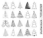 set of hand drawn sketch... | Shutterstock .eps vector #735180589