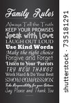 hand lettered family rules ... | Shutterstock .eps vector #735181291