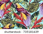 tropical seamless vector floral ... | Shutterstock .eps vector #735181639