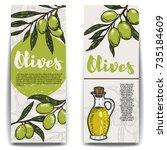 set of olive oil flyers. olive... | Shutterstock .eps vector #735184609
