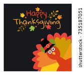 happy thanksgiving. greeting... | Shutterstock .eps vector #735187051