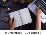 workspace hero header with law... | Shutterstock . vector #735188857