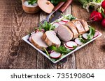 roast pork fillet with with... | Shutterstock . vector #735190804