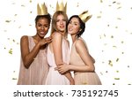 beautiful multinational young... | Shutterstock . vector #735192745