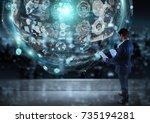 businessman watching digital... | Shutterstock . vector #735194281