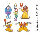 Set Of Happy And Angry Clowns....