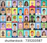 portraits of people on a... | Shutterstock .eps vector #735203587
