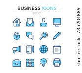 business icons. vector line... | Shutterstock .eps vector #735204889