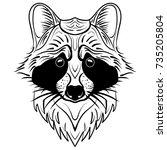 sketch raccoon face. hand drawn ...   Shutterstock .eps vector #735205804