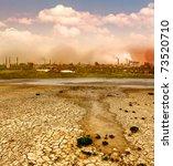 Industrial Destruction. Smoke...