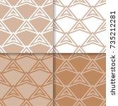 geometric brown beige... | Shutterstock .eps vector #735212281