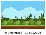 nature landscape  forest and... | Shutterstock .eps vector #735212305