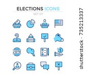elections icons. vector line... | Shutterstock .eps vector #735213337