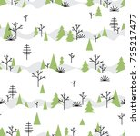 seamless pattern with winter... | Shutterstock .eps vector #735217477