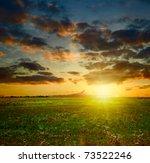 summer sunset landscape. field...   Shutterstock . vector #73522246