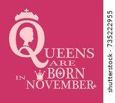 medieval queen profile. elegant ... | Shutterstock .eps vector #735222955