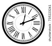 vintage dial clock with roman...   Shutterstock .eps vector #735223261