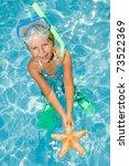 happy summer vacation   snorkel ... | Shutterstock . vector #73522369