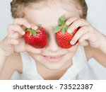 Strawberries   Happy Girl With...