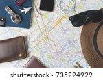 top view traveler's accessories ... | Shutterstock . vector #735224929
