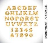 raster copy metallic gold... | Shutterstock . vector #735225331