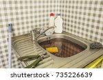 the clogged kitchen sink.... | Shutterstock . vector #735226639