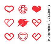 heart logos and icons | Shutterstock .eps vector #735228541