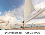 luxury cruise ship vacation... | Shutterstock . vector #735234901