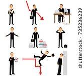 frustrated businessman... | Shutterstock .eps vector #735236239