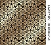 golden seamless pattern in art...   Shutterstock .eps vector #735236995