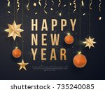happy new year on black... | Shutterstock .eps vector #735240085