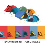 tent collection | Shutterstock .eps vector #735240661