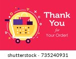 the shopcart full of purchases... | Shutterstock .eps vector #735240931