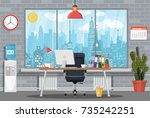 office building interior. desk... | Shutterstock . vector #735242251