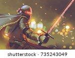 sci fi character of astro... | Shutterstock . vector #735243049