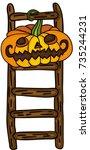 halloween pumpkin hanging in... | Shutterstock .eps vector #735244231