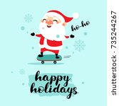happy santa claus on a... | Shutterstock .eps vector #735244267