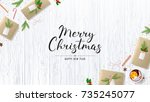merry christmas poster with... | Shutterstock .eps vector #735245077