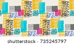 memphis seamless  pattern in... | Shutterstock .eps vector #735245797
