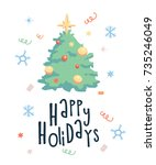 greeting card with christmas... | Shutterstock .eps vector #735246049