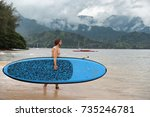 stand up paddleboard fit man... | Shutterstock . vector #735246781
