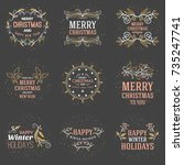 set of merry christmas and... | Shutterstock .eps vector #735247741