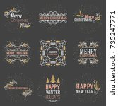 set of merry christmas and... | Shutterstock .eps vector #735247771