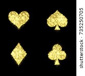 golden ace playing card signs.... | Shutterstock .eps vector #735250705