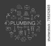 plumbing objects and tools icons | Shutterstock .eps vector #735252835