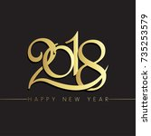 20happy new year 2018 vector... | Shutterstock .eps vector #735253579