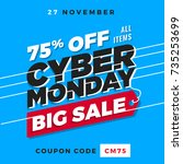cyber monday super sale. up to... | Shutterstock .eps vector #735253699