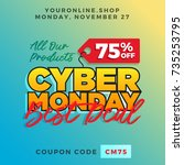 cyber monday super sale. up to... | Shutterstock .eps vector #735253795